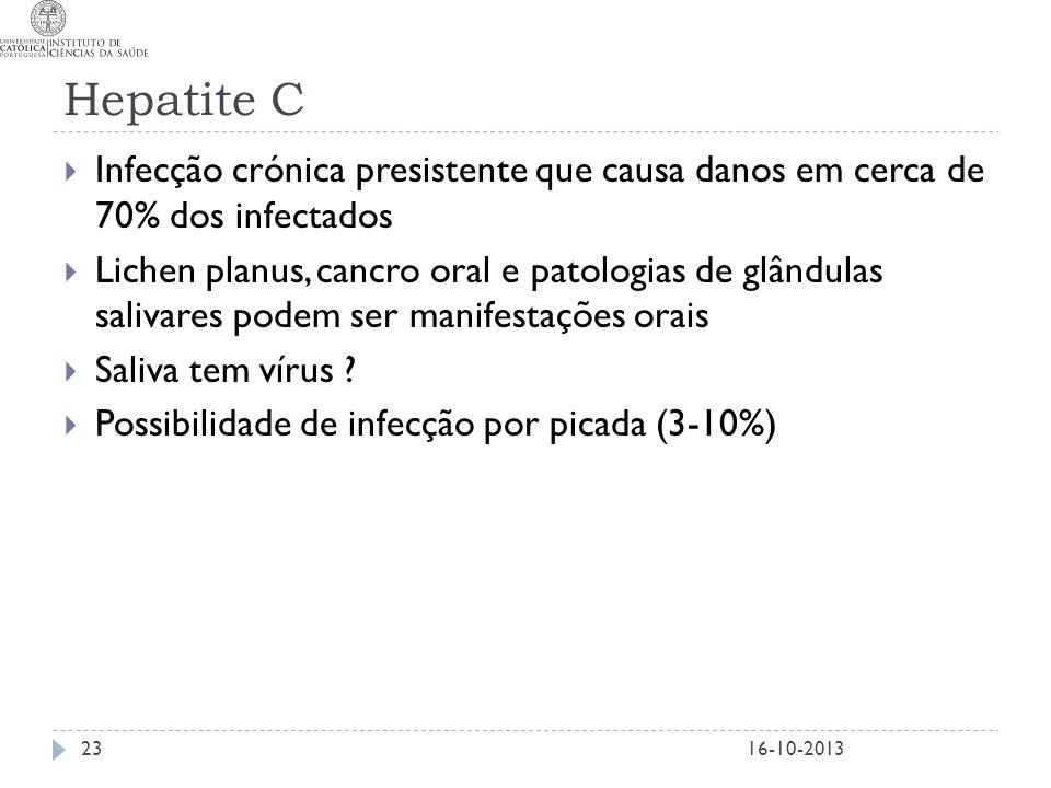 Hepatite C  Infecção crónica presistente que causa danos em cerca de 70% dos infectados  Lichen planus, cancro oral e patologias de glândulas saliva