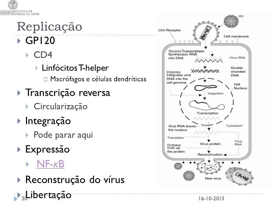 Replicação  GP120  CD4  Linfócitos T-helper  Macrófagos e células dendríticas  Transcrição reversa  Circularização  Integração  Pode parar aqu