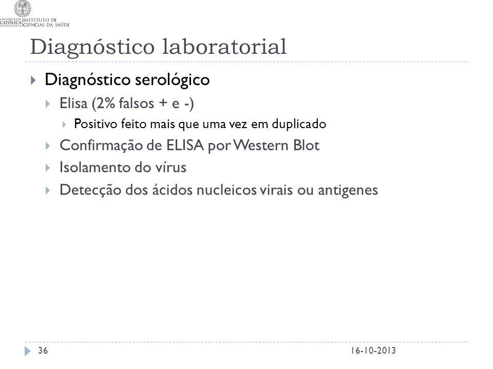 Diagnóstico laboratorial  Diagnóstico serológico  Elisa (2% falsos + e -)  Positivo feito mais que uma vez em duplicado  Confirmação de ELISA por
