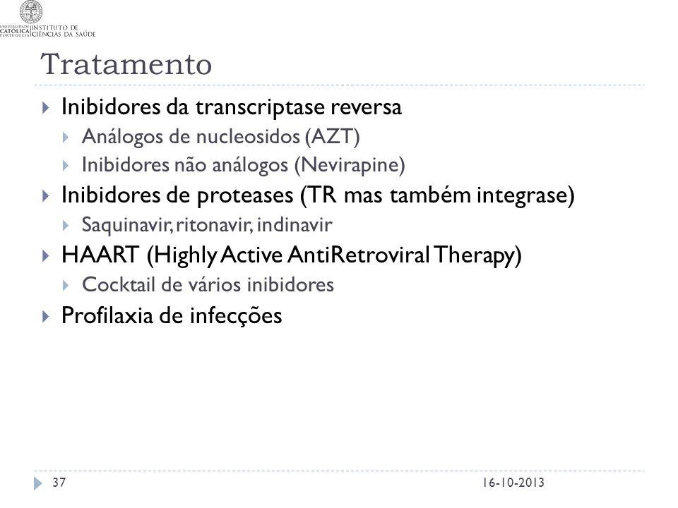 Tratamento  Inibidores da transcriptase reversa  Análogos de nucleosidos (AZT)  Inibidores não análogos (Nevirapine)  Inibidores de proteases (TR