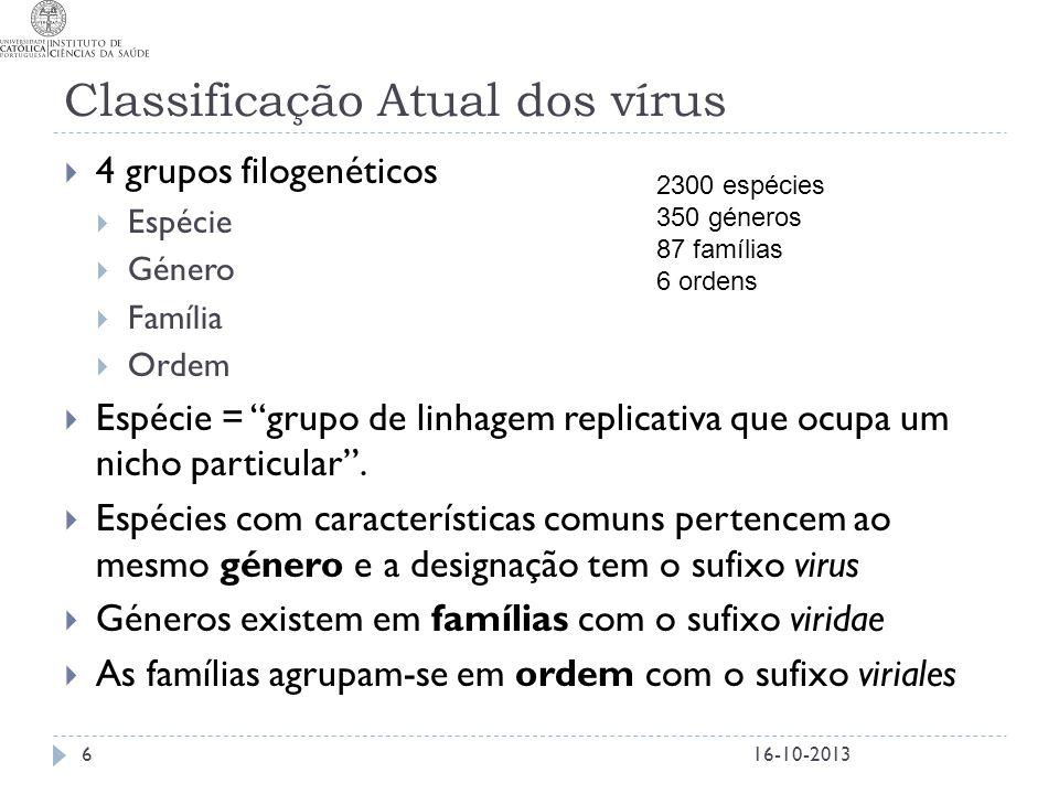 """Classificação Atual dos vírus  4 grupos filogenéticos  Espécie  Género  Família  Ordem  Espécie = """"grupo de linhagem replicativa que ocupa um ni"""