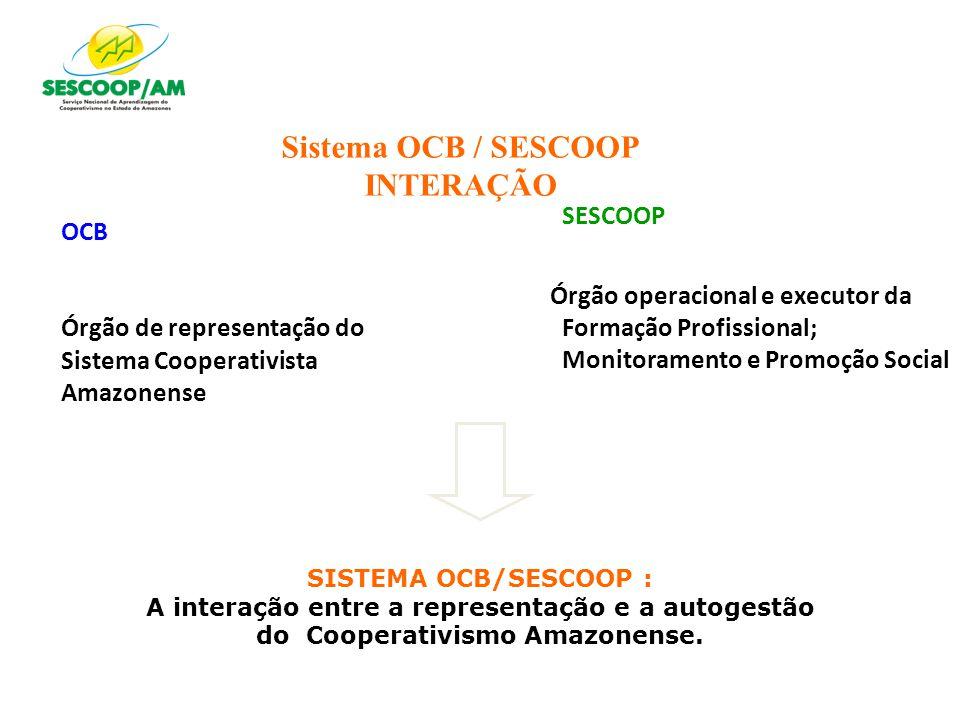 Sistema OCB / SESCOOP INTERAÇÃO OCB Órgão de representação do Sistema Cooperativista Amazonense SESCOOP Órgão operacional e executor da Formação Profi