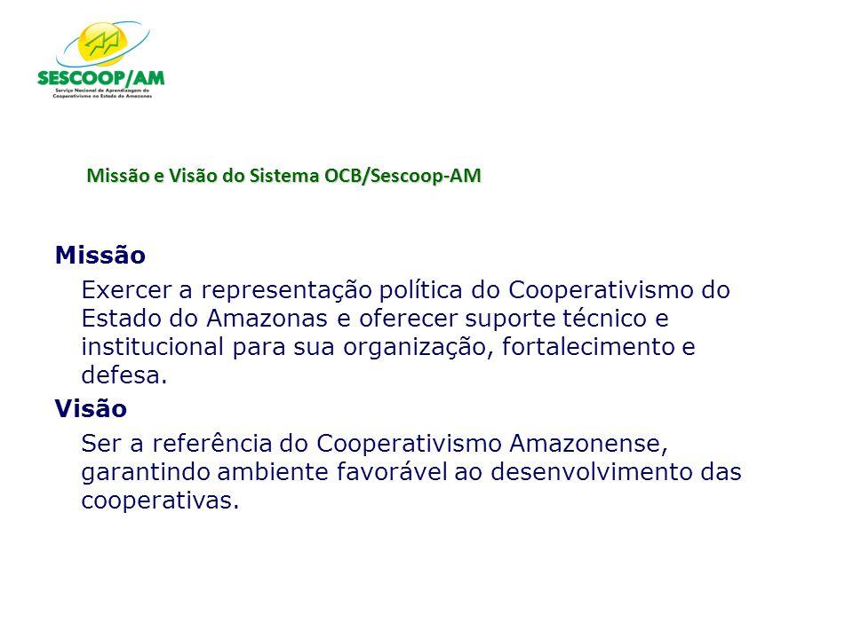 Missão e Visão do Sistema OCB/Sescoop-AM Missão Exercer a representação política do Cooperativismo do Estado do Amazonas e oferecer suporte técnico e
