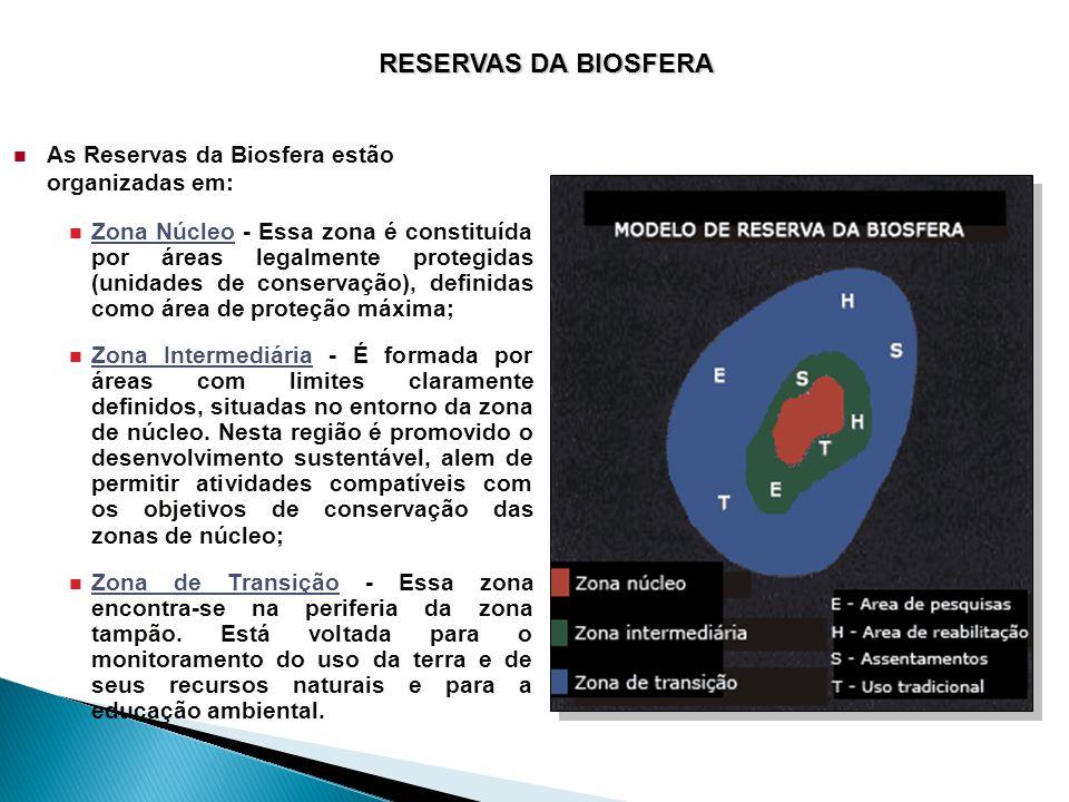 RESERVAS DA BIOSFERA  As Reservas da Biosfera estão organizadas em:  Zona Núcleo - Essa zona é constituída por áreas legalmente protegidas (unidades de conservação), definidas como área de proteção máxima;  Zona Intermediária - É formada por áreas com limites claramente definidos, situadas no entorno da zona de núcleo.