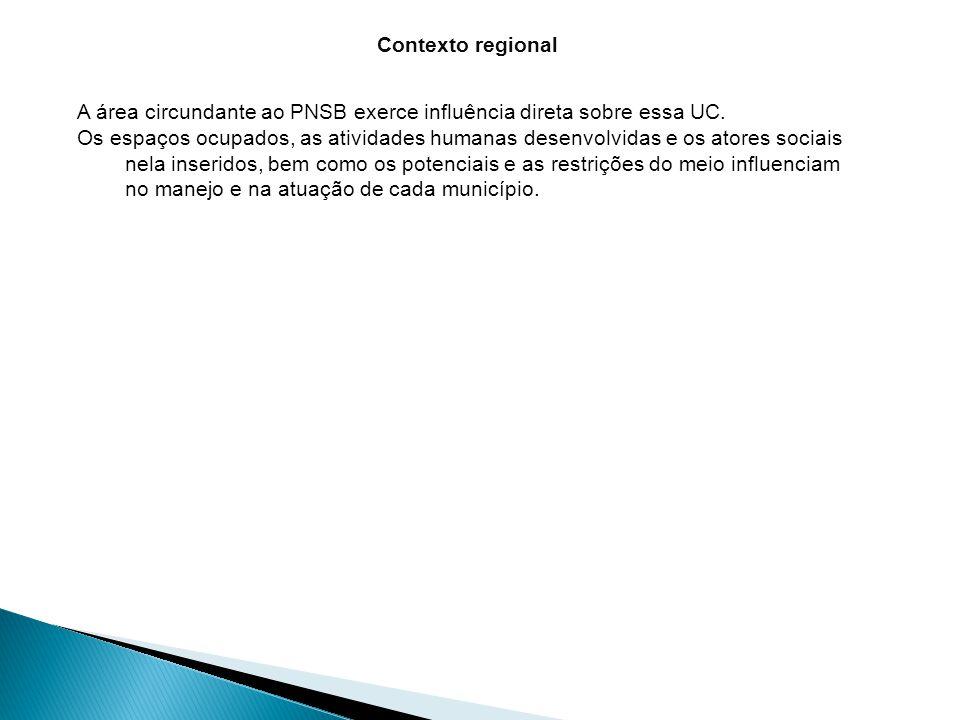 Contexto regional A área circundante ao PNSB exerce influência direta sobre essa UC.