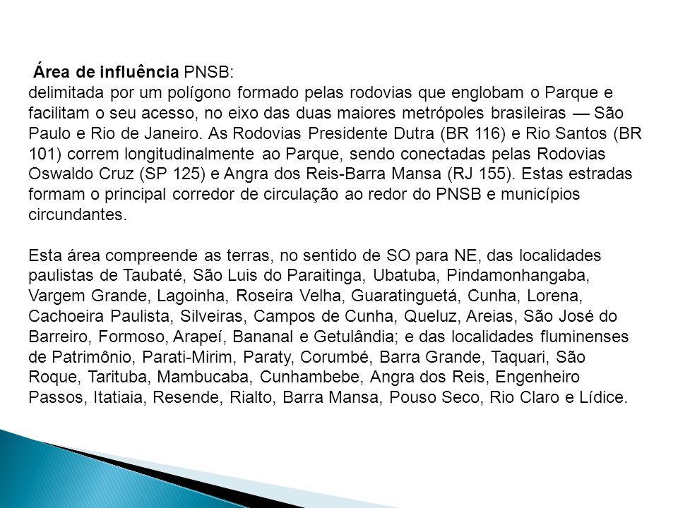 Área de influência PNSB: delimitada por um polígono formado pelas rodovias que englobam o Parque e facilitam o seu acesso, no eixo das duas maiores metrópoles brasileiras — São Paulo e Rio de Janeiro.