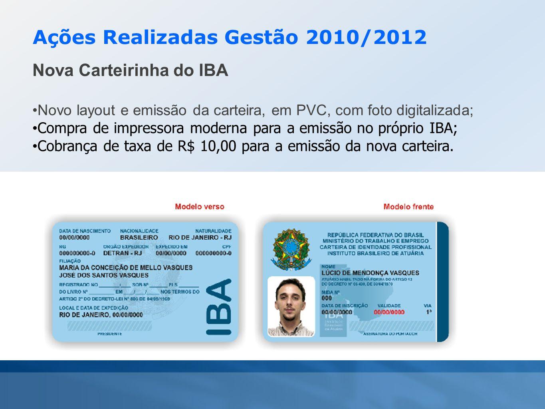Ações Realizadas Gestão 2010/2012 Nova Carteirinha do IBA •Novo layout e emissão da carteira, em PVC, com foto digitalizada; • Compra de impressora mo