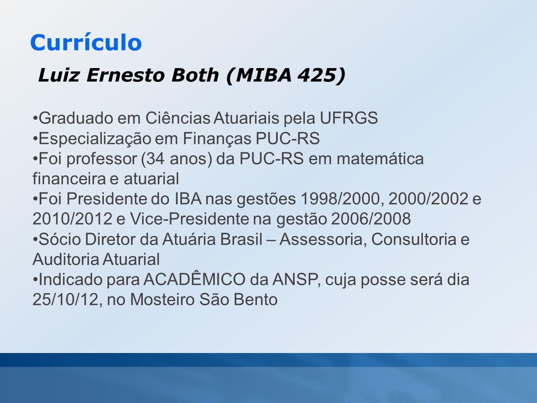 Currículo Luiz Ernesto Both (MIBA 425) •Graduado em Ciências Atuariais pela UFRGS •Especialização em Finanças PUC-RS •Foi professor (34 anos) da PUC-R