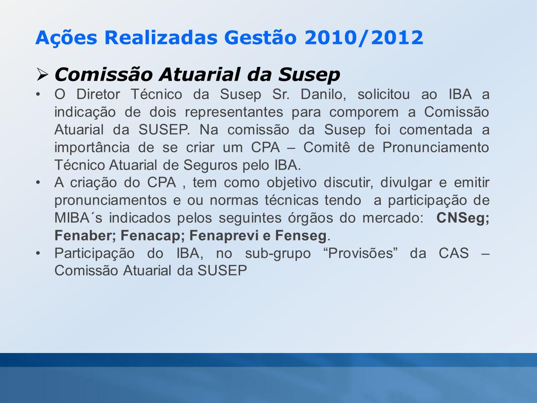 Ações Realizadas Gestão 2010/2012  Comissão Atuarial da Susep •O Diretor Técnico da Susep Sr. Danilo, solicitou ao IBA a indicação de dois representa