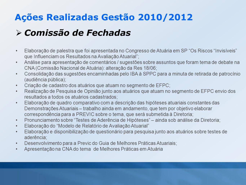 """Ações Realizadas Gestão 2010/2012  Comissão de Fechadas •Elaboração de palestra que foi apresentada no Congresso de Atuária em SP """"Os Riscos """"Invisív"""