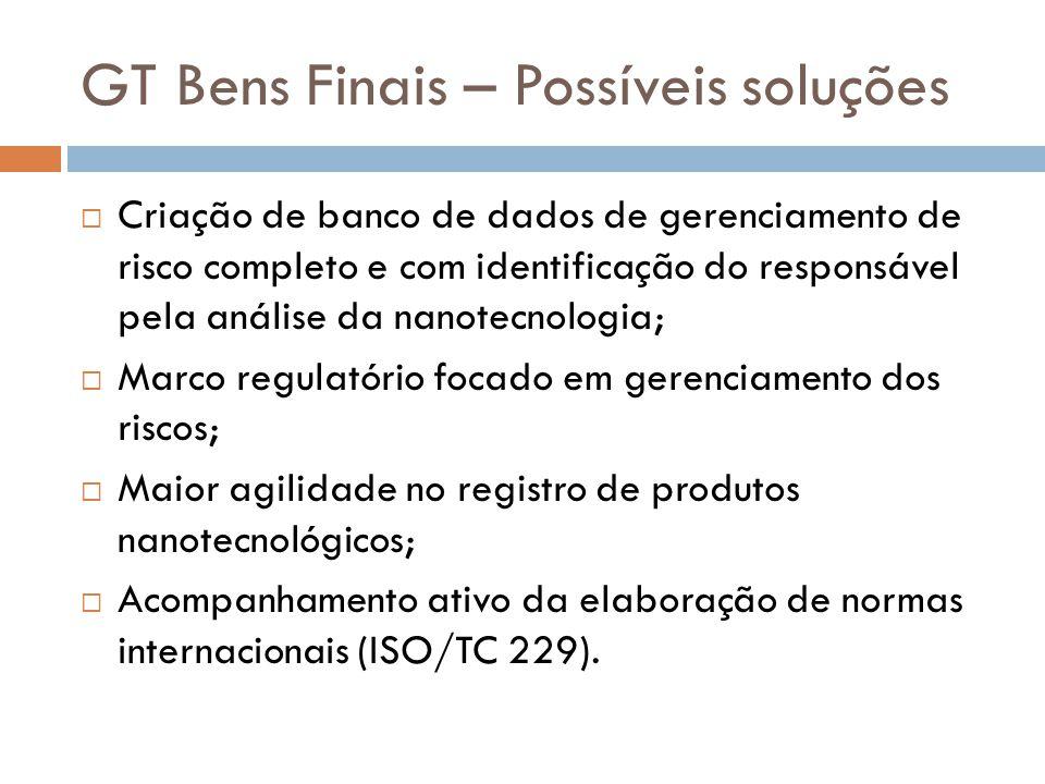 GT Bens Finais – Possíveis soluções  Criação de banco de dados de gerenciamento de risco completo e com identificação do responsável pela análise da