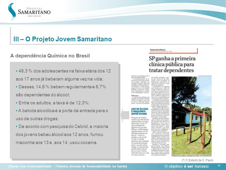 O objetivo é ser humano 15 (Saúde com Sustentabilidade – Primeira Jornada de Sustentabilidade na Saúde) A dependência Química no Brasil III – O Projet