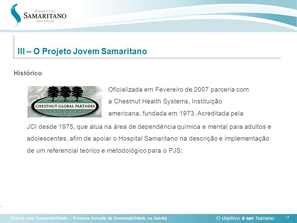O objetivo é ser humano 17 (Saúde com Sustentabilidade – Primeira Jornada de Sustentabilidade na Saúde) Oficializada em Fevereiro de 2007 parceria com