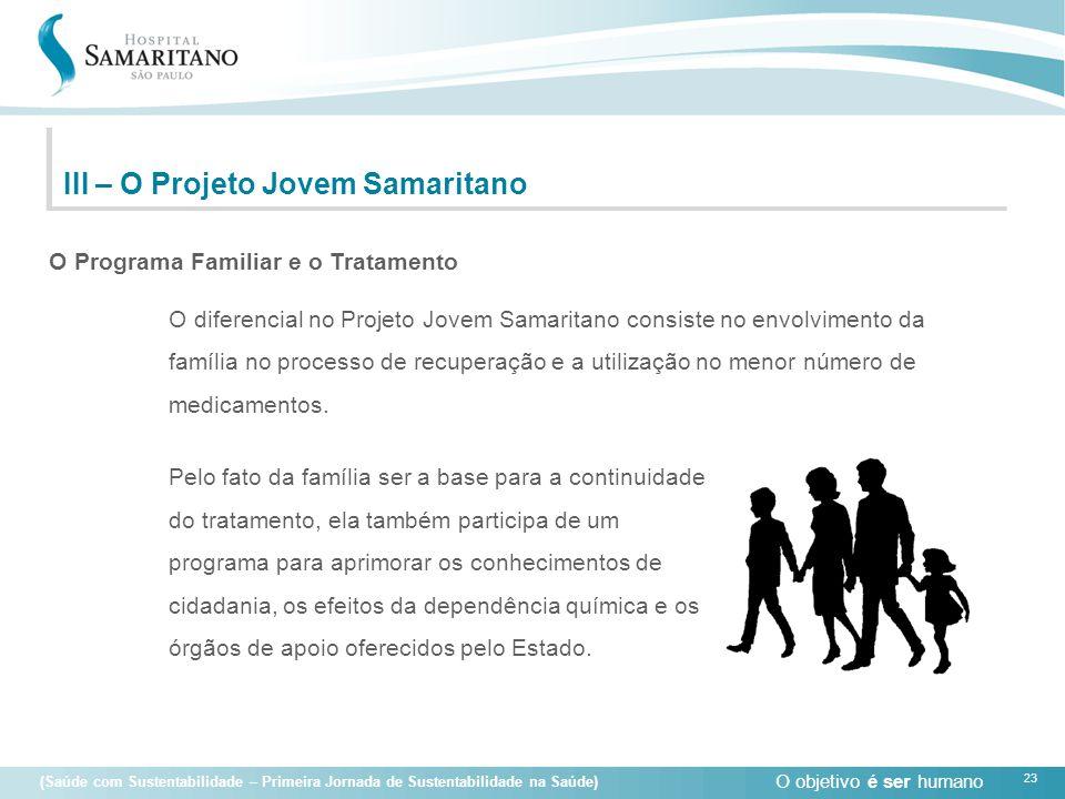 O objetivo é ser humano 23 (Saúde com Sustentabilidade – Primeira Jornada de Sustentabilidade na Saúde) O diferencial no Projeto Jovem Samaritano cons