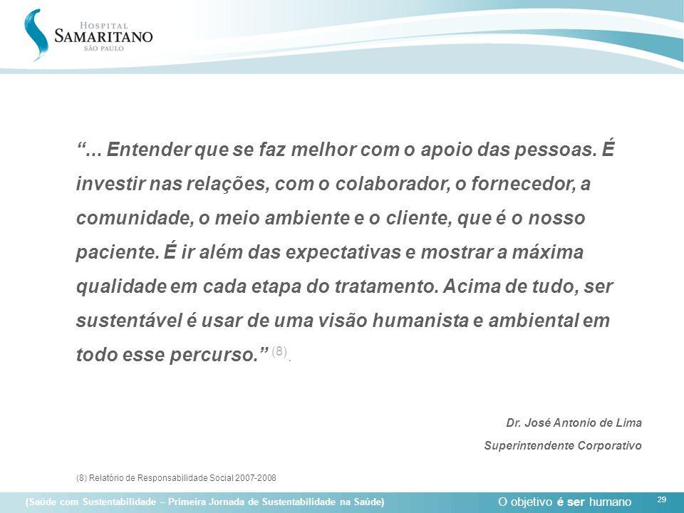 """O objetivo é ser humano 29 (Saúde com Sustentabilidade – Primeira Jornada de Sustentabilidade na Saúde) """"... Entender que se faz melhor com o apoio da"""