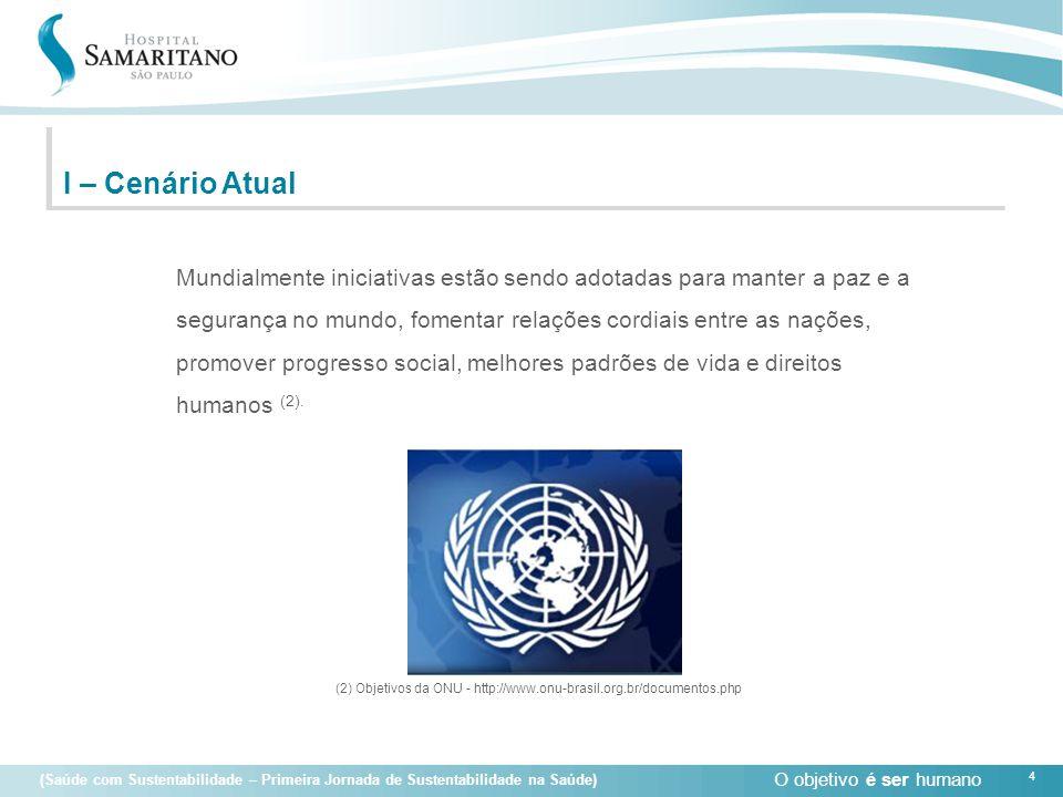O objetivo é ser humano 4 (Saúde com Sustentabilidade – Primeira Jornada de Sustentabilidade na Saúde) I – Cenário Atual Mundialmente iniciativas estã