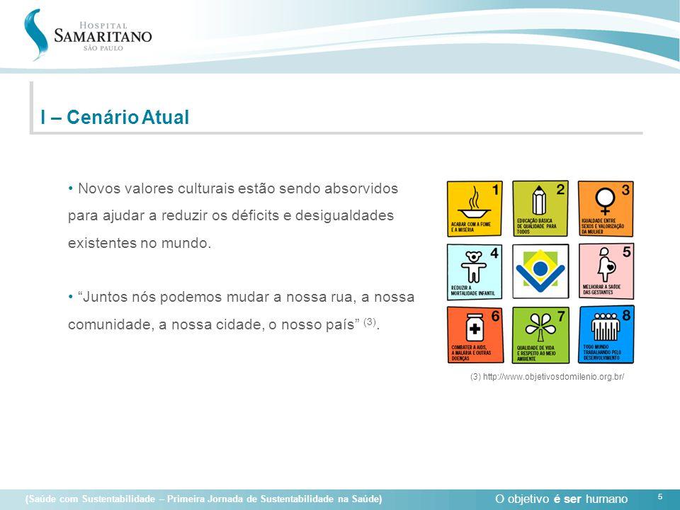 O objetivo é ser humano 5 (Saúde com Sustentabilidade – Primeira Jornada de Sustentabilidade na Saúde) I – Cenário Atual • Novos valores culturais est