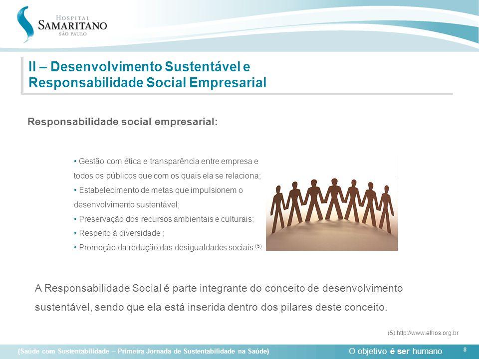 O objetivo é ser humano 8 (Saúde com Sustentabilidade – Primeira Jornada de Sustentabilidade na Saúde) II – Desenvolvimento Sustentável e Responsabili