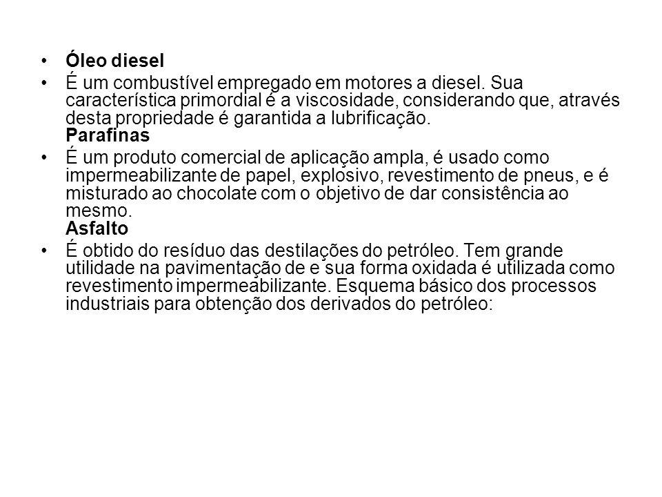 •Óleo diesel •É um combustível empregado em motores a diesel. Sua característica primordial é a viscosidade, considerando que, através desta proprieda