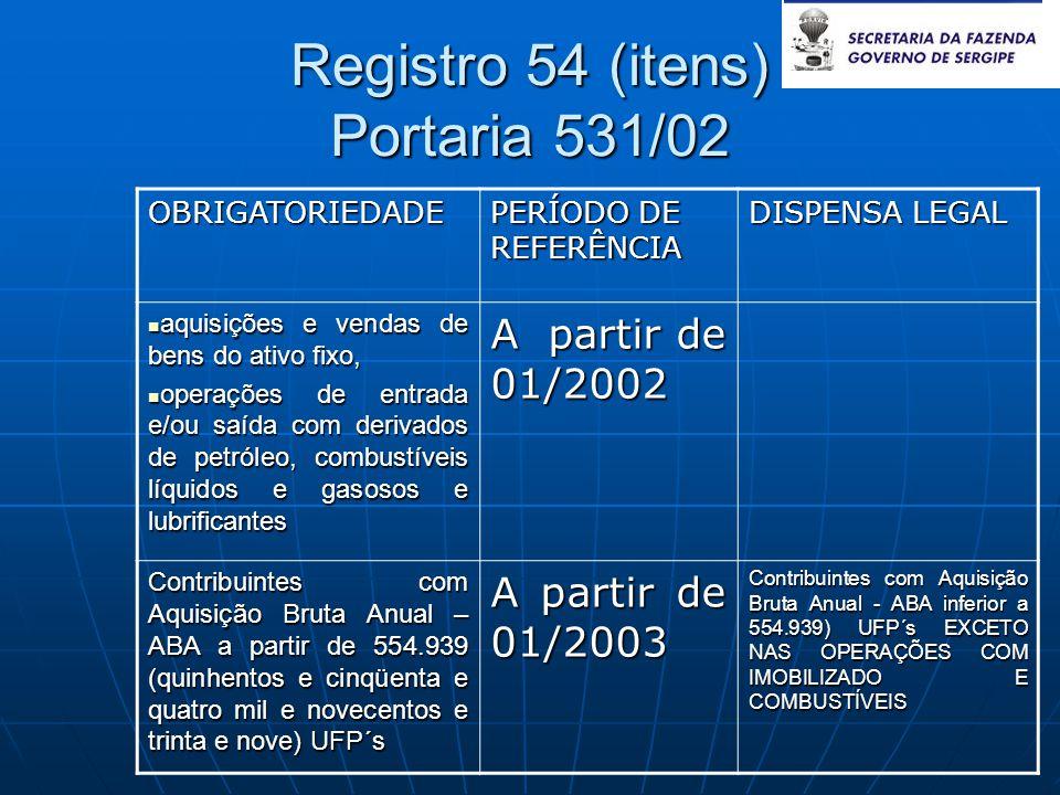Registro 54 (itens) Portaria 531/02 OBRIGATORIEDADE PERÍODO DE REFERÊNCIA DISPENSA LEGAL  aquisições e vendas de bens do ativo fixo,  operações de e