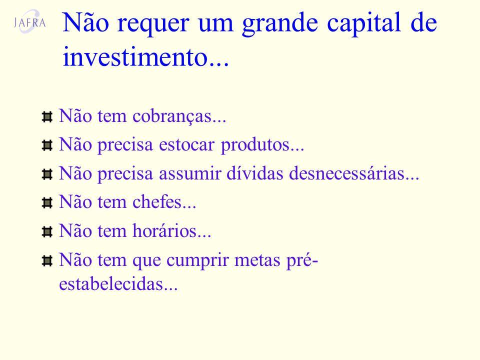 Não requer um grande capital de investimento...Não tem cobranças...