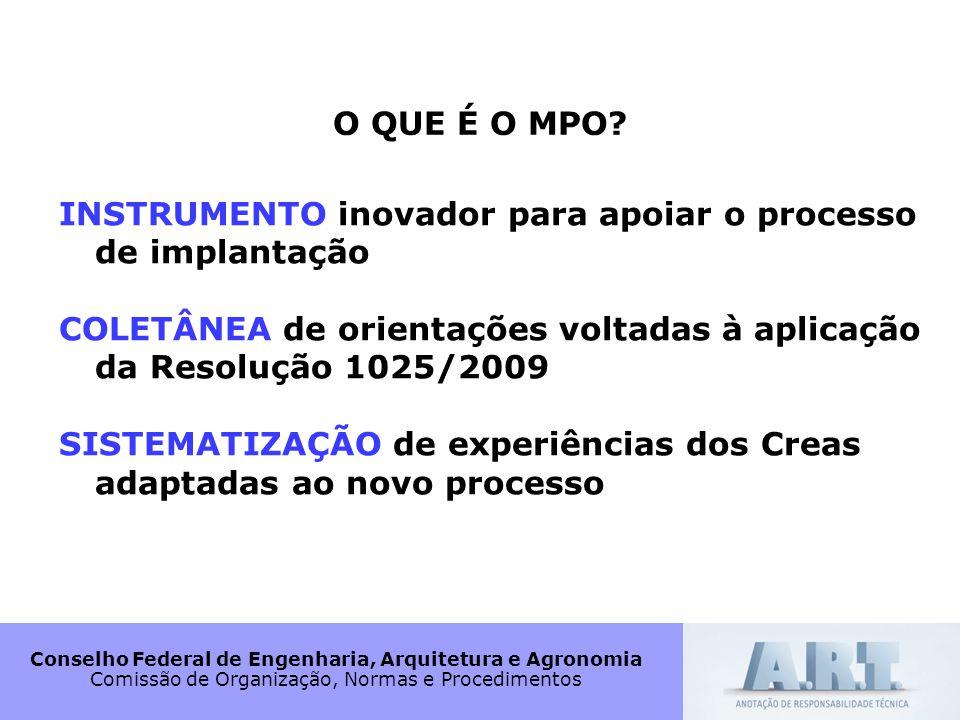 Conselho Federal de Engenharia, Arquitetura e Agronomia Comissão de Organização, Normas e Procedimentos O QUE É O MPO? INSTRUMENTO inovador para apoia