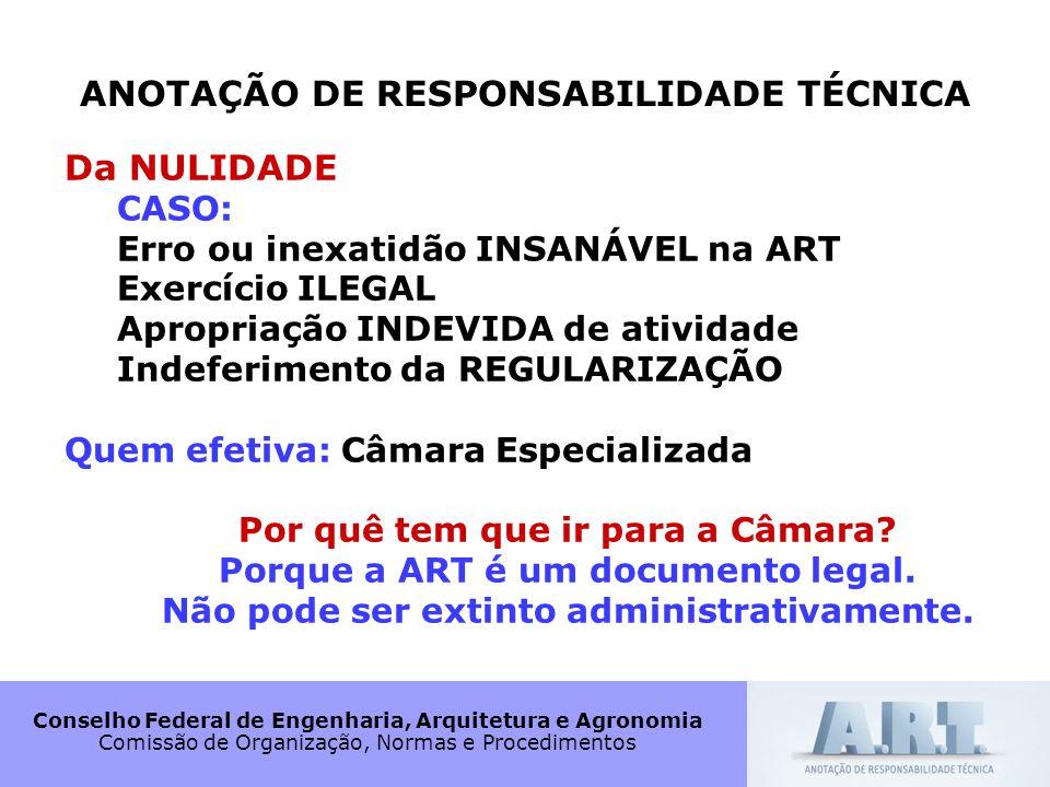 Conselho Federal de Engenharia, Arquitetura e Agronomia Comissão de Organização, Normas e Procedimentos ANOTAÇÃO DE RESPONSABILIDADE TÉCNICA Da NULIDA