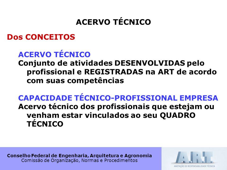 Conselho Federal de Engenharia, Arquitetura e Agronomia Comissão de Organização, Normas e Procedimentos ACERVO TÉCNICO Dos CONCEITOS ACERVO TÉCNICO Co