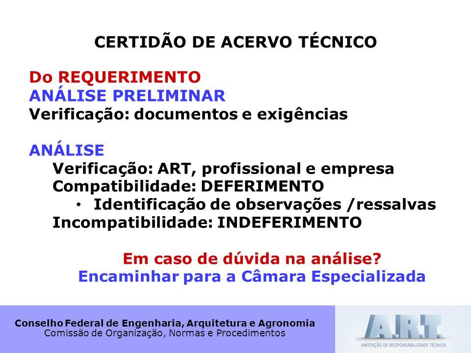 Conselho Federal de Engenharia, Arquitetura e Agronomia Comissão de Organização, Normas e Procedimentos CERTIDÃO DE ACERVO TÉCNICO Do REQUERIMENTO ANÁ