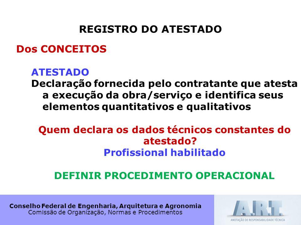 Conselho Federal de Engenharia, Arquitetura e Agronomia Comissão de Organização, Normas e Procedimentos REGISTRO DO ATESTADO Dos CONCEITOS ATESTADO De
