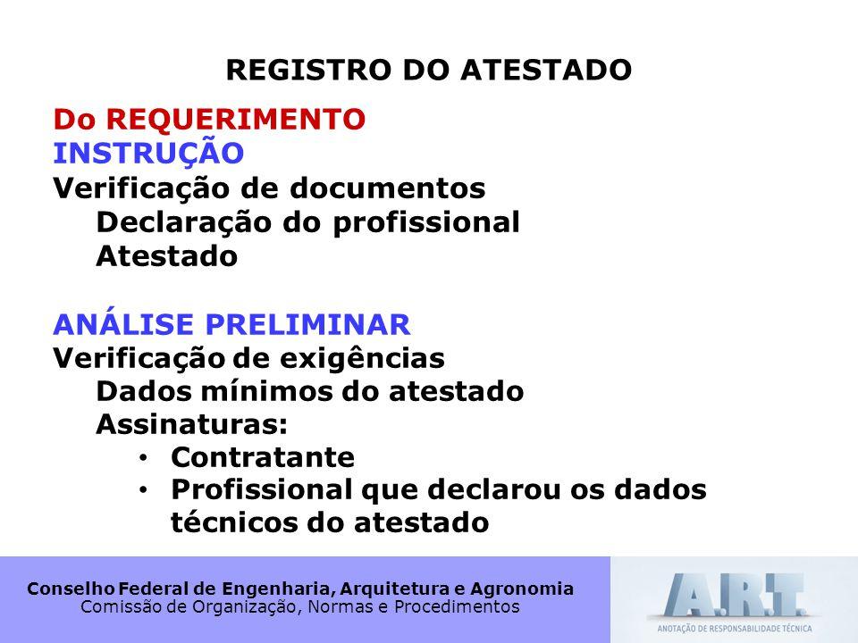 Conselho Federal de Engenharia, Arquitetura e Agronomia Comissão de Organização, Normas e Procedimentos REGISTRO DO ATESTADO Do REQUERIMENTO INSTRUÇÃO