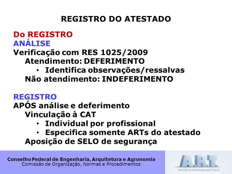 Conselho Federal de Engenharia, Arquitetura e Agronomia Comissão de Organização, Normas e Procedimentos REGISTRO DO ATESTADO Do REGISTRO ANÁLISE Verif