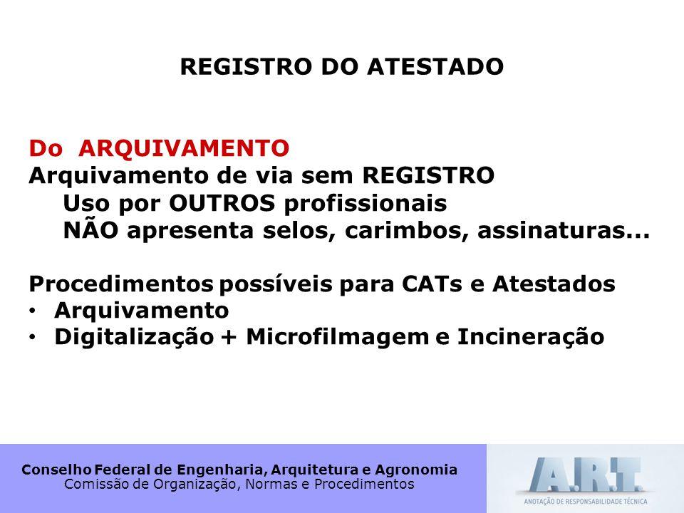 Conselho Federal de Engenharia, Arquitetura e Agronomia Comissão de Organização, Normas e Procedimentos REGISTRO DO ATESTADO Do ARQUIVAMENTO Arquivame