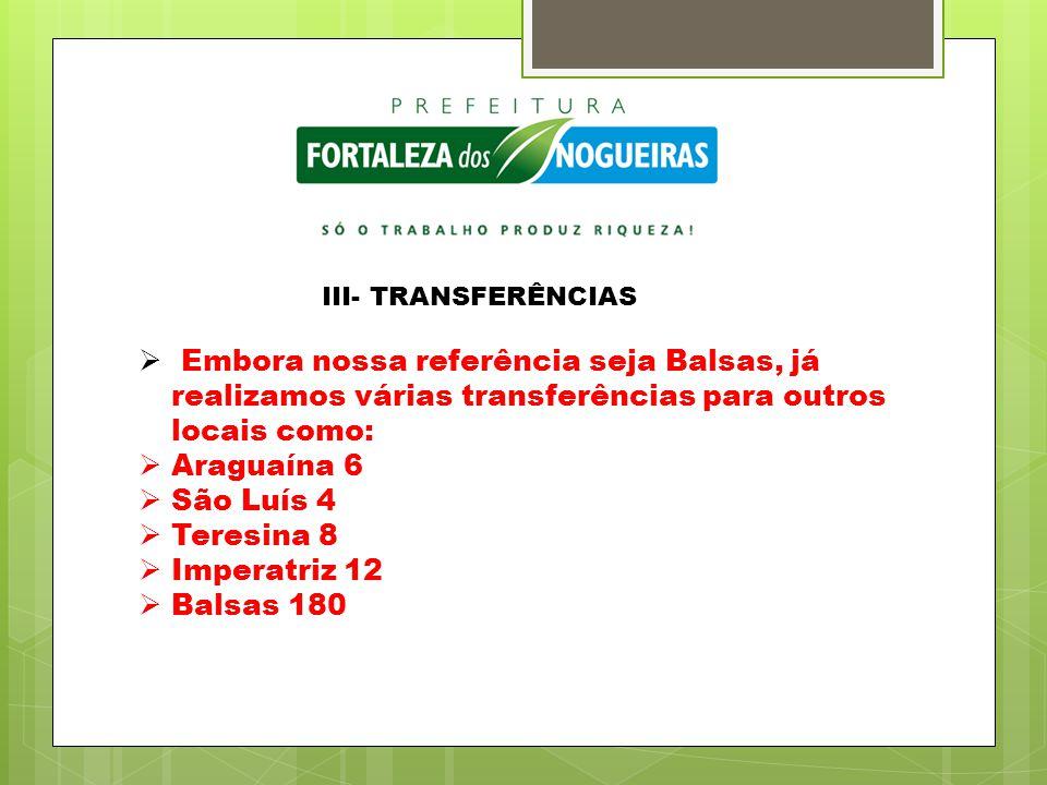 III- TRANSFERÊNCIAS  Embora nossa referência seja Balsas, já realizamos várias transferências para outros locais como:  Araguaína 6  São Luís 4  T