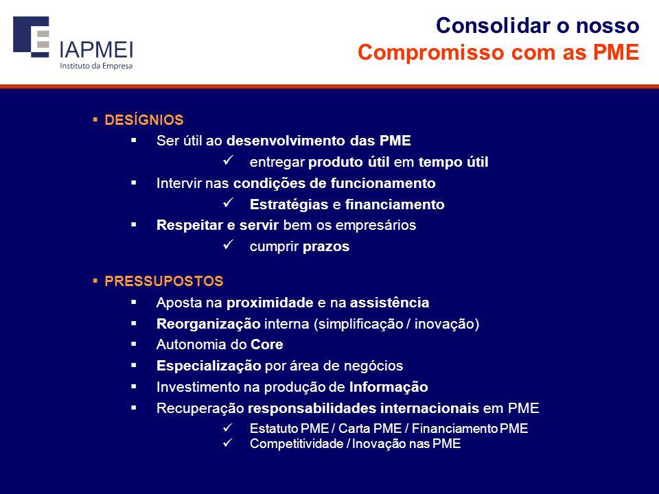 Consolidar o nosso Compromisso com as PME  DESÍGNIOS  Ser útil ao desenvolvimento das PME  entregar produto útil em tempo útil  Intervir nas condições de funcionamento  Estratégias e financiamento  Respeitar e servir bem os empresários  cumprir prazos  PRESSUPOSTOS  Aposta na proximidade e na assistência  Reorganização interna (simplificação / inovação)  Autonomia do Core  Especialização por área de negócios  Investimento na produção de Informação  Recuperação responsabilidades internacionais em PME  Estatuto PME / Carta PME / Financiamento PME  Competitividade / Inovação nas PME