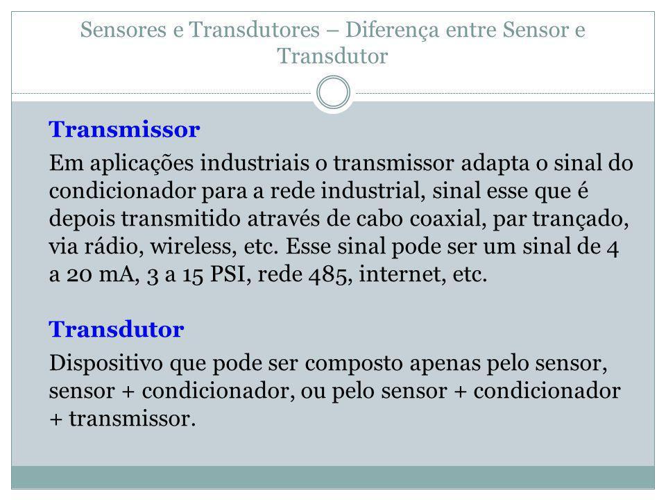 Sensores e Transdutores – Diferença entre Sensor e Transdutor Transmissor Em aplicações industriais o transmissor adapta o sinal do condicionador para