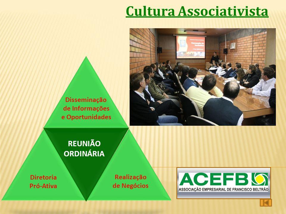 Cultura Associativista PRESTAÇÃO DE SERVIÇOS PROMOÇÃO CULTURA ASSOCIATISTA Realização de Negócios Diretoria Pró-Ativa Disseminação de Informações e Op