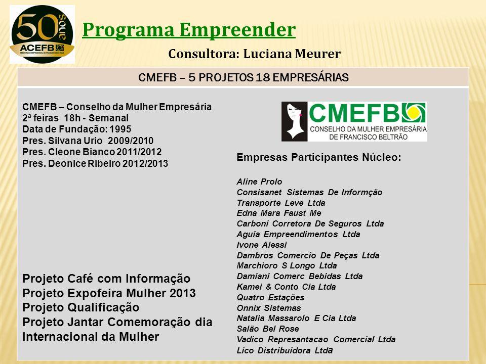 Programa Empreender Consultora: Luciana Meurer CMEFB – 5 PROJETOS 18 EMPRESÁRIAS CMEFB – Conselho da Mulher Empresária 2ª feiras 18h - Semanal Data de