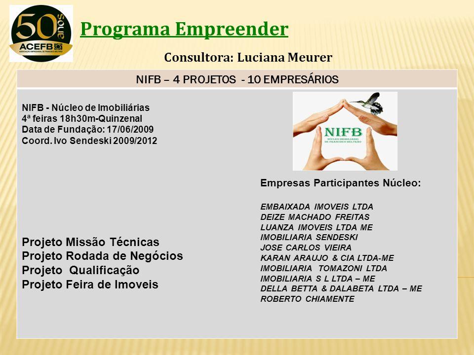 Programa Empreender Consultora: Luciana Meurer NIFB – 4 PROJETOS - 10 EMPRESÁRIOS NIFB - Núcleo de Imobiliárias 4ª feiras 18h30m-Quinzenal Data de Fun