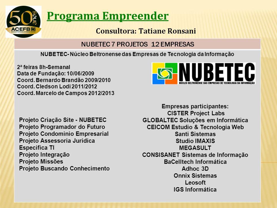 Programa Empreender Consultora: Tatiane Ronsani NUBETEC 7 PROJETOS 12 EMPRESAS NUBETEC- Núcleo Beltronense das Empresas de Tecnologia da Informação 2ª