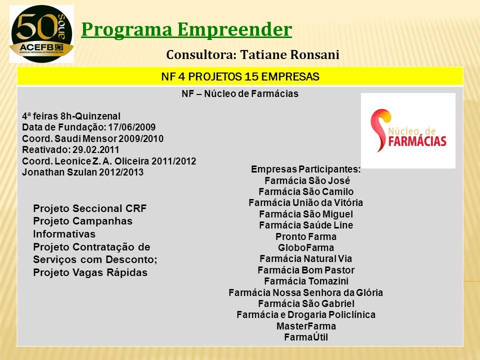 Programa Empreender Consultora: Tatiane Ronsani NF 4 PROJETOS 15 EMPRESAS NF – Núcleo de Farmácias 4ª feiras 8h-Quinzenal Data de Fundação: 17/06/2009