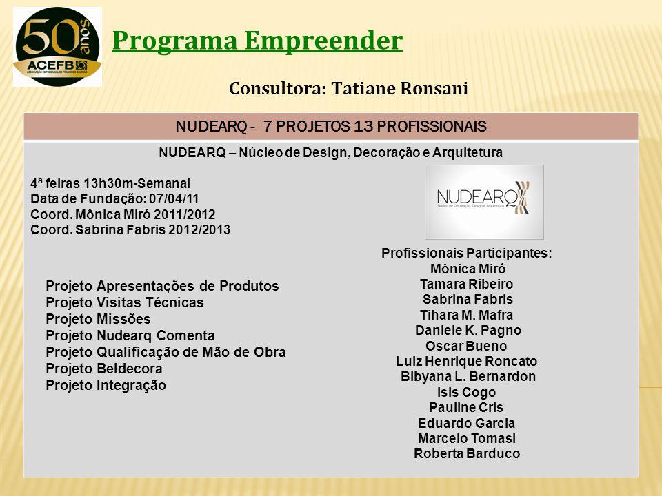 Programa Empreender Consultora: Tatiane Ronsani NUDEARQ - 7 PROJETOS 13 PROFISSIONAIS NUDEARQ – Núcleo de Design, Decoração e Arquitetura 4ª feiras 13