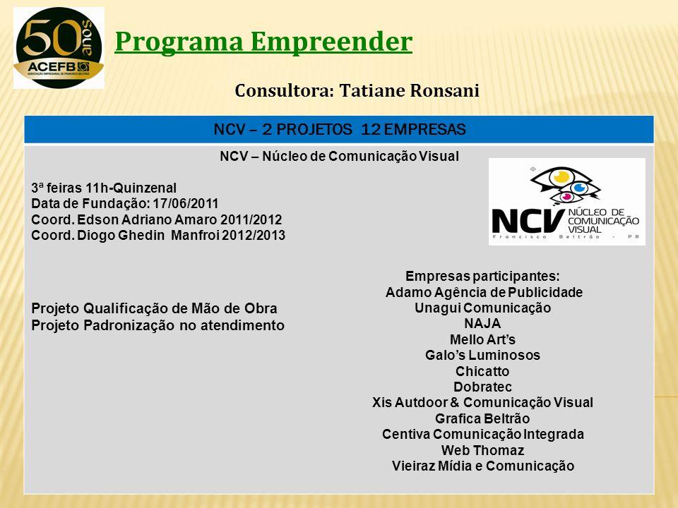 Programa Empreender Consultora: Tatiane Ronsani NCV – 2 PROJETOS 12 EMPRESAS NCV – Núcleo de Comunicação Visual 3ª feiras 11h-Quinzenal Data de Fundaç