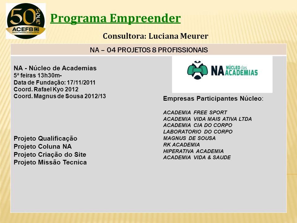 Programa Empreender Consultora: Luciana Meurer NA – 04 PROJETOS 8 PROFISSIONAIS NA - Núcleo de Academias 5ª feiras 13h30m- Data de Fundação: 17/11/201