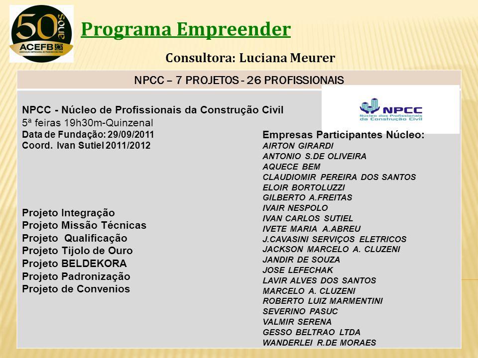 Programa Empreender Consultora: Luciana Meurer NPCC – 7 PROJETOS - 26 PROFISSIONAIS NPCC - Núcleo de Profissionais da Construção Civil 5ª feiras 19h30