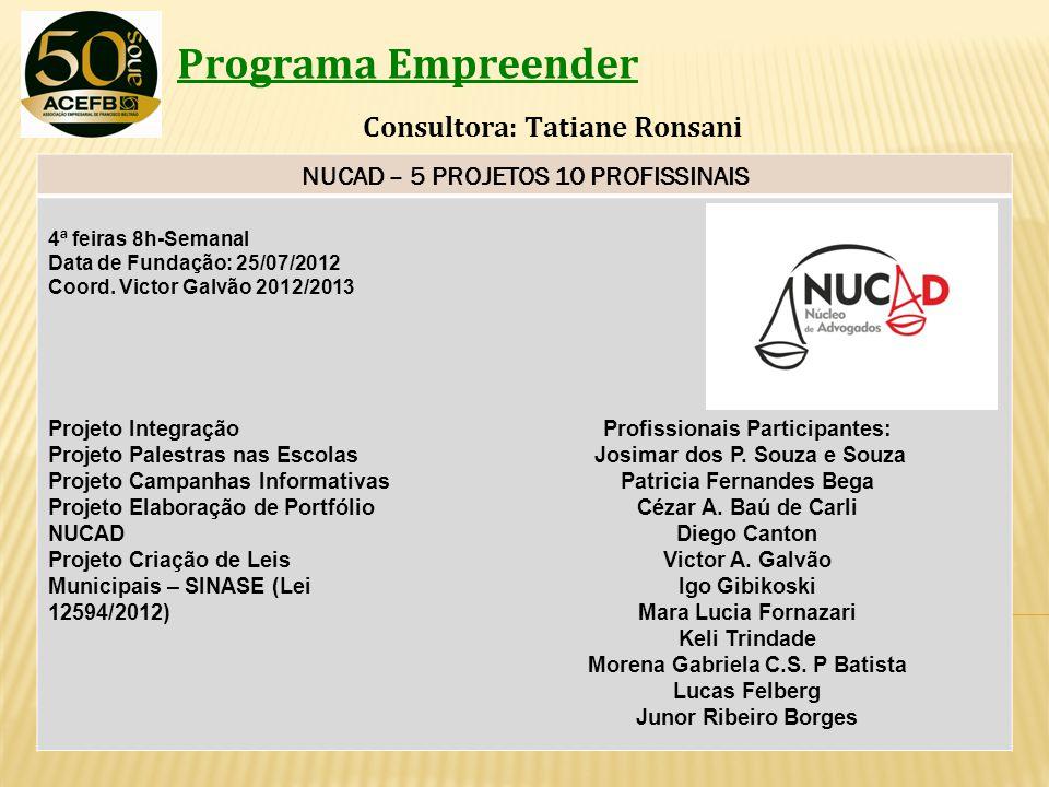 Programa Empreender Consultora: Tatiane Ronsani NUCAD – 5 PROJETOS 10 PROFISSINAIS 4ª feiras 8h-Semanal Data de Fundação: 25/07/2012 Coord. Victor Gal