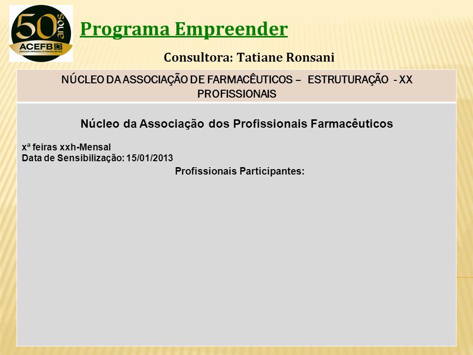 Programa Empreender Consultora: Tatiane Ronsani NÚCLEO DA ASSOCIAÇÃO DE FARMACÊUTICOS – ESTRUTURAÇÃO - XX PROFISSIONAIS Núcleo da Associação dos Profi