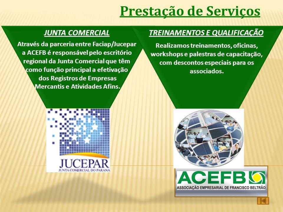 Prestação de Serviços JUNTA COMERCIALTREINAMENTOS E QUALIFICAÇÃO Através da parceria entre Faciap/Jucepar a ACEFB é responsável pelo escritório region