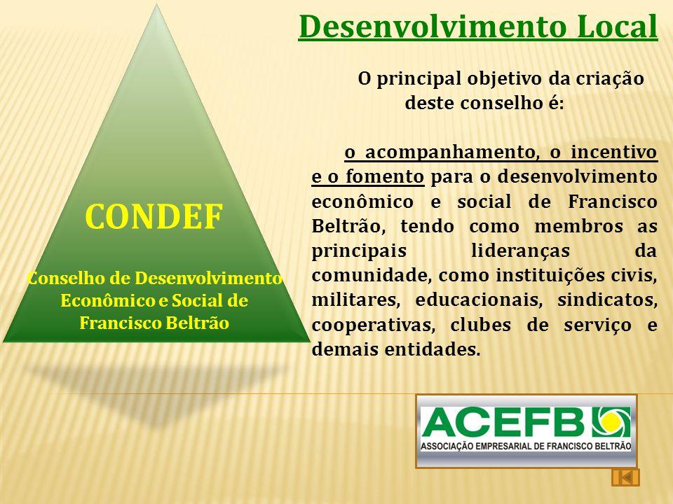 Desenvolvimento Local O principal objetivo da criação deste conselho é: o acompanhamento, o incentivo e o fomento para o desenvolvimento econômico e s