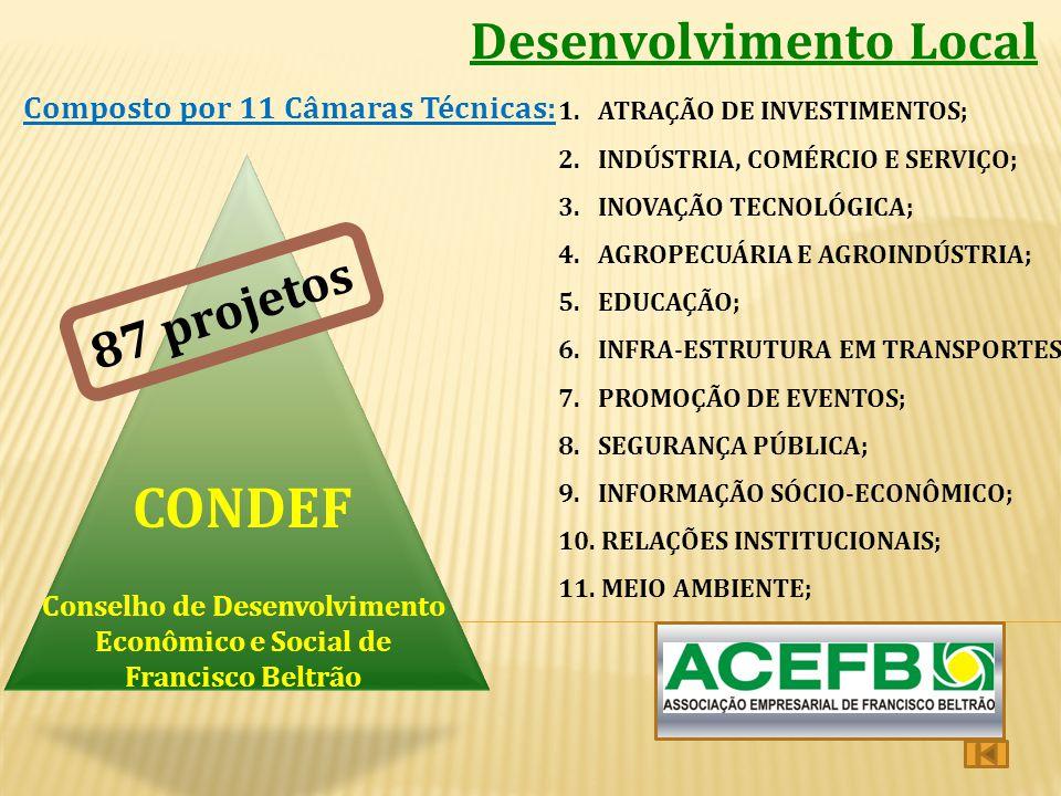 Desenvolvimento Local Conselho de Desenvolvimento Econômico e Social de Francisco Beltrão CONDEF Composto por 11 Câmaras Técnicas: 1. ATRAÇÃO DE INVES